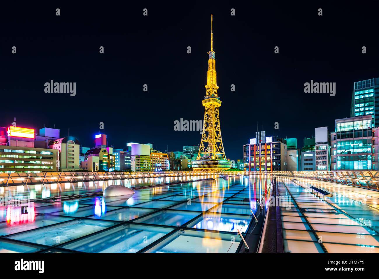 Nagoya, Japan city skyline with Nagoya Tower. - Stock Image