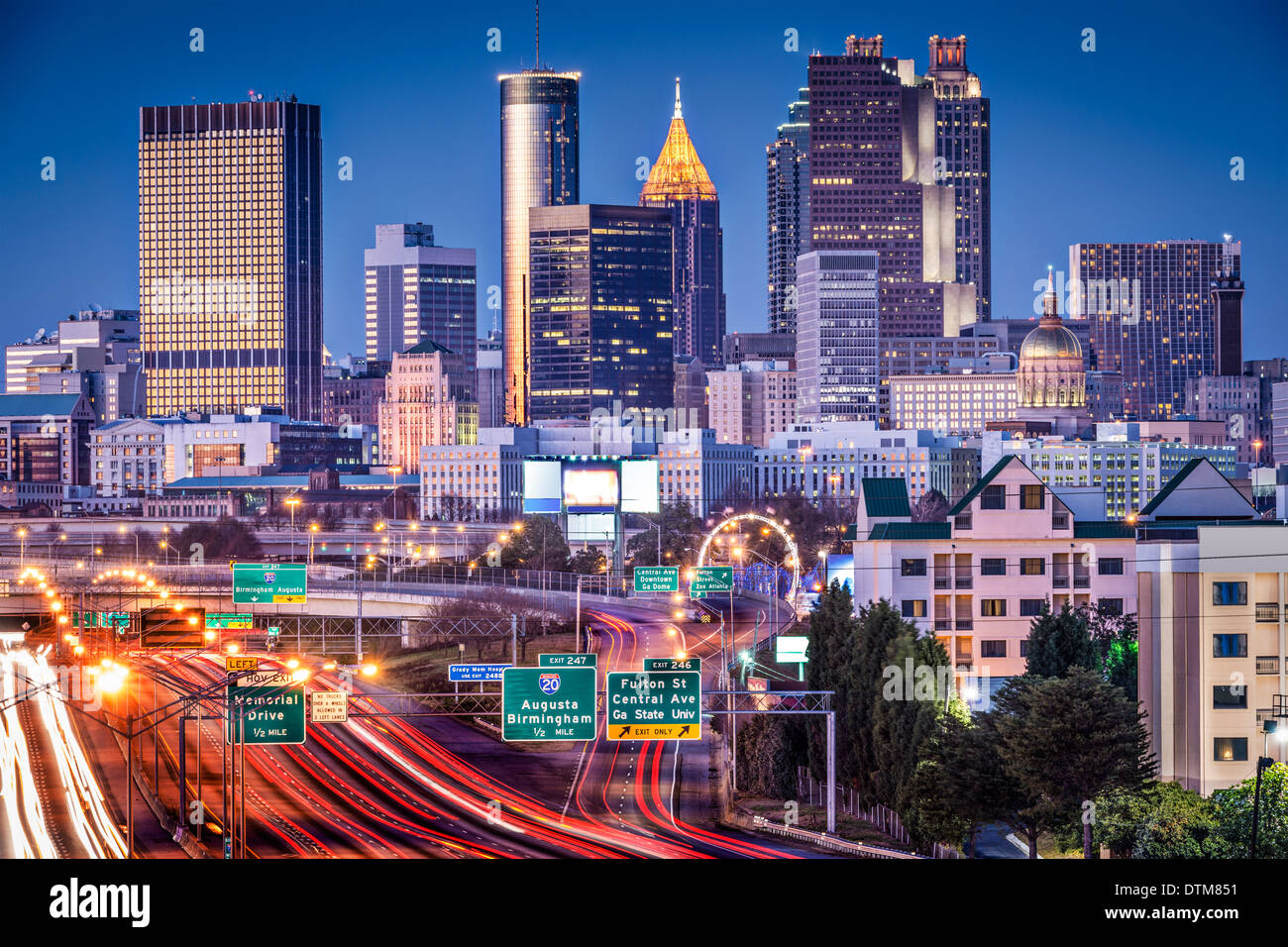 atlanta georgia usa twilight rush hour stock photo 66828301 alamy. Black Bedroom Furniture Sets. Home Design Ideas