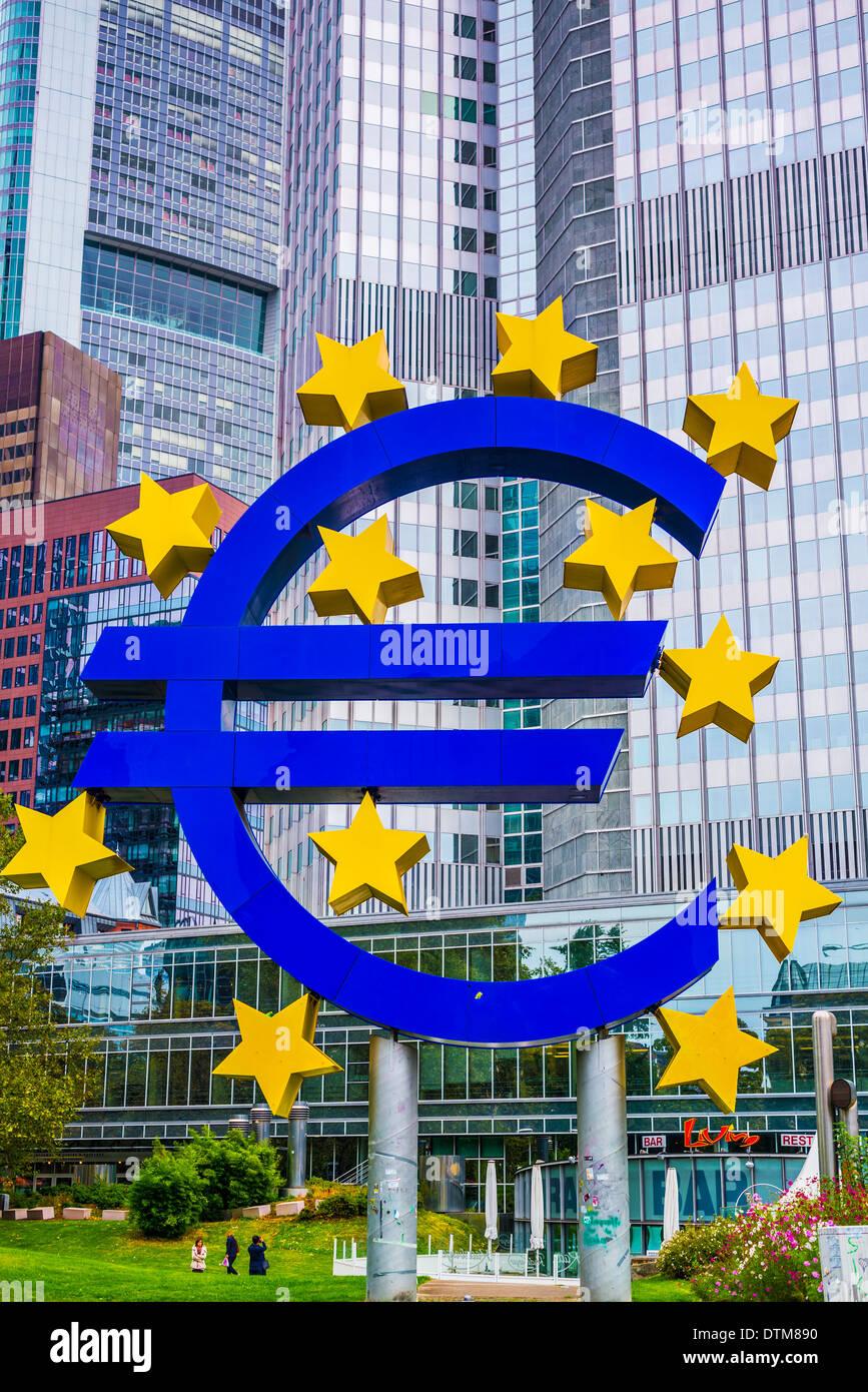 Eurotower's Euro sign in Frankfurt, Germany. - Stock Image