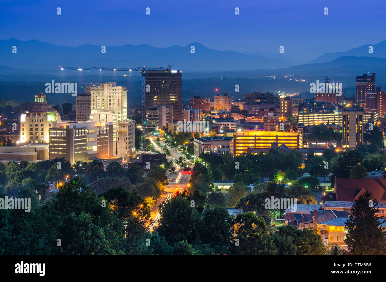 Asheville, North Carolina, USA at twilight. Stock Photo