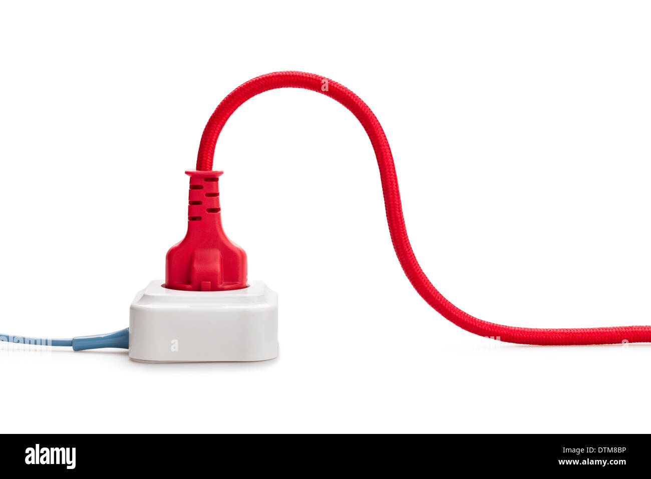 plugged in connection outlet isolated - Stock Image