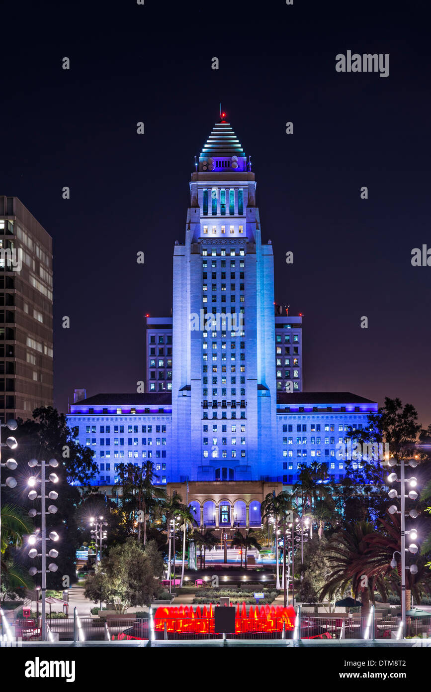 Los Angeles, California, USA downtown cityscape at City Hall Building. The building was completed in 1928. - Stock Image