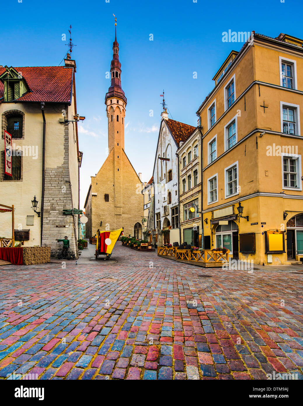 Tallinn, Estonia old city at old town hall. - Stock Image