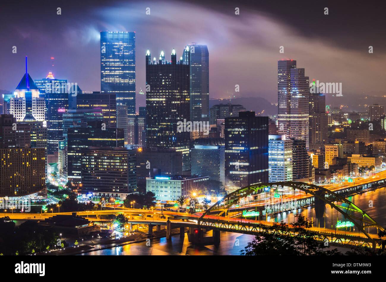 Pittsburgh, Pennsylvania, USA with low clouds. - Stock Image