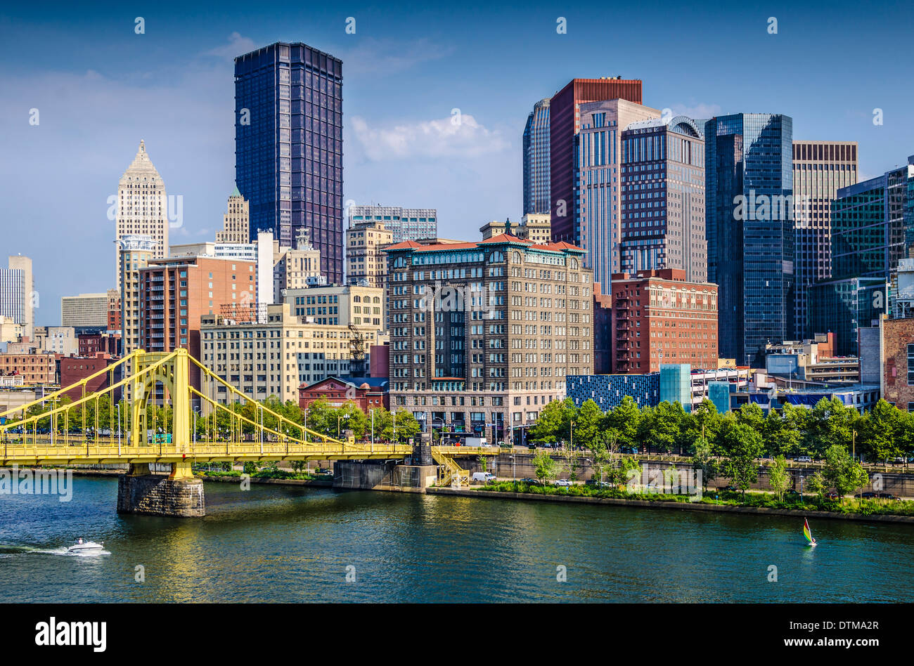 Pittsburgh, Pennsylvania, USA daytime downtown scene over the Allegheny River. - Stock Image