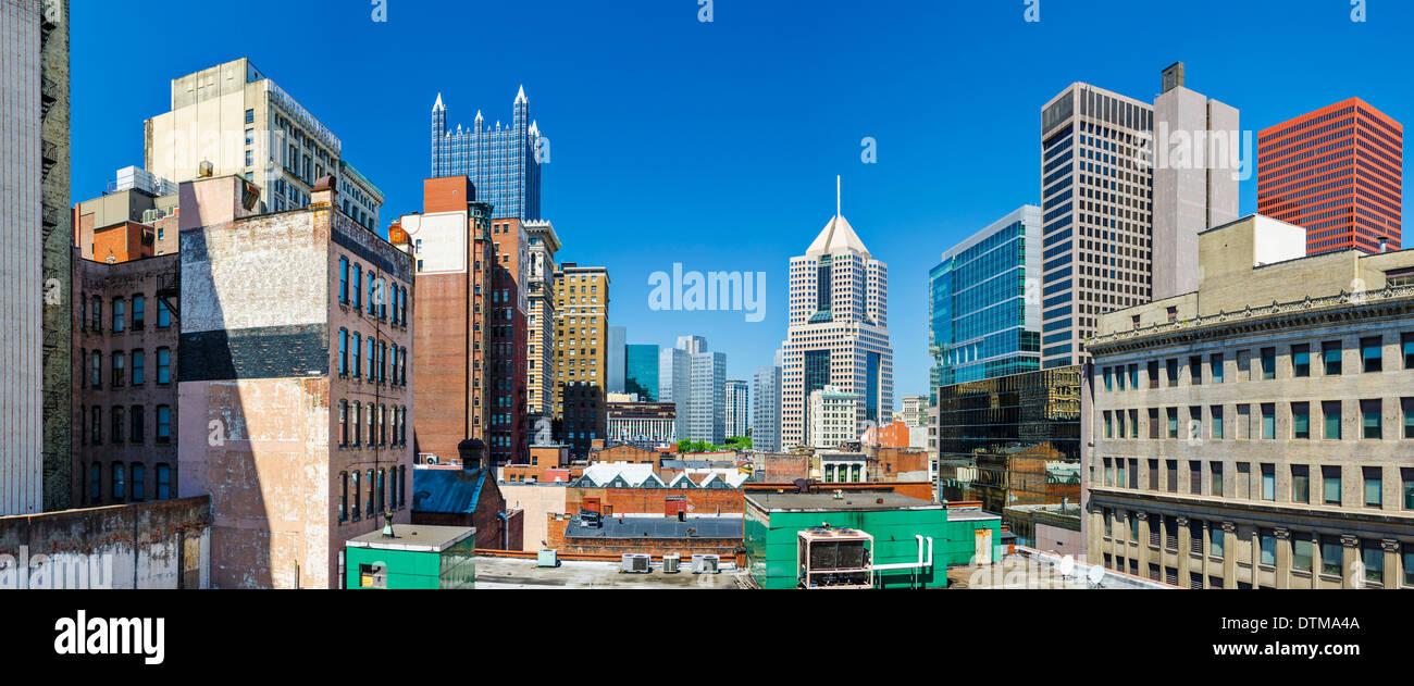 Pittsburgh, Pennsylvania, USA downtown panorama. - Stock Image