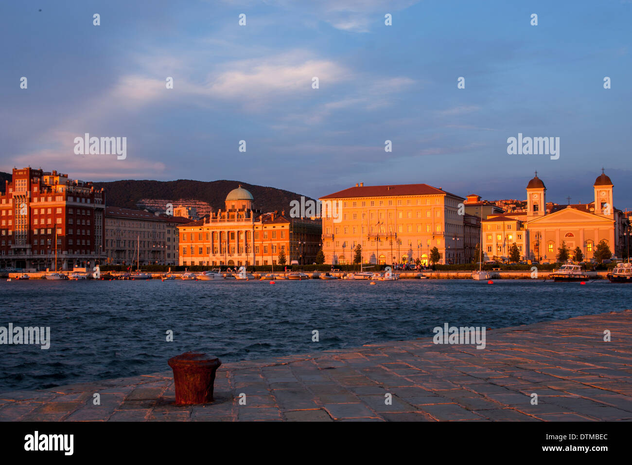 The beautiful city of Trieste planted in front of the Adriatic Sea - Stock Image