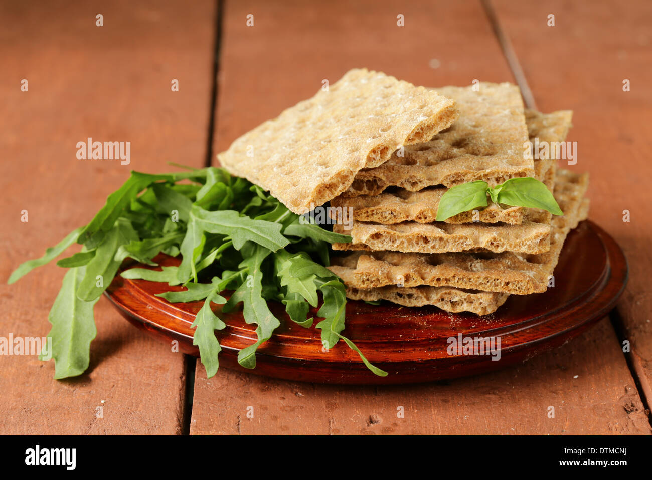 stack of dietary whole wheat crisp bread - healthy eating - Stock Image