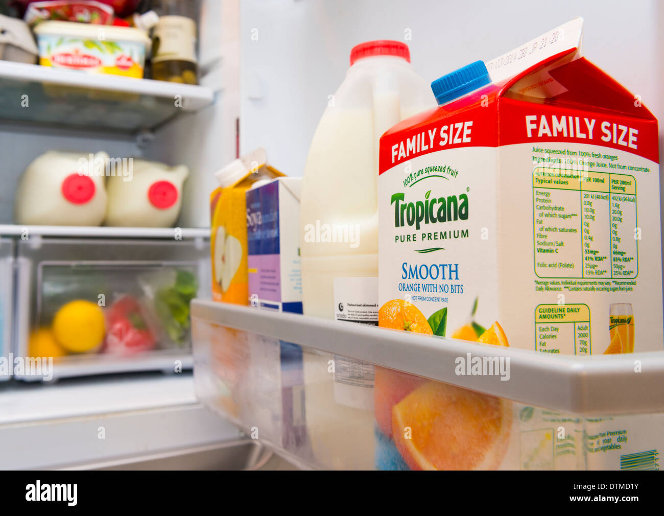 A well stocked fridge - Stock Image