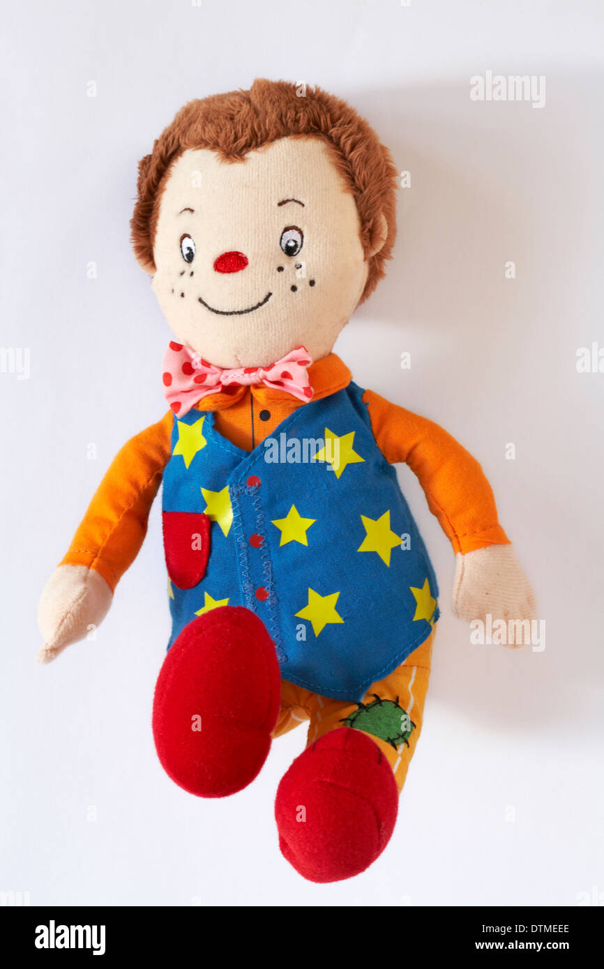 Mr Tumble Something Special clown soft cuddly toy isolated on white background - Stock Image
