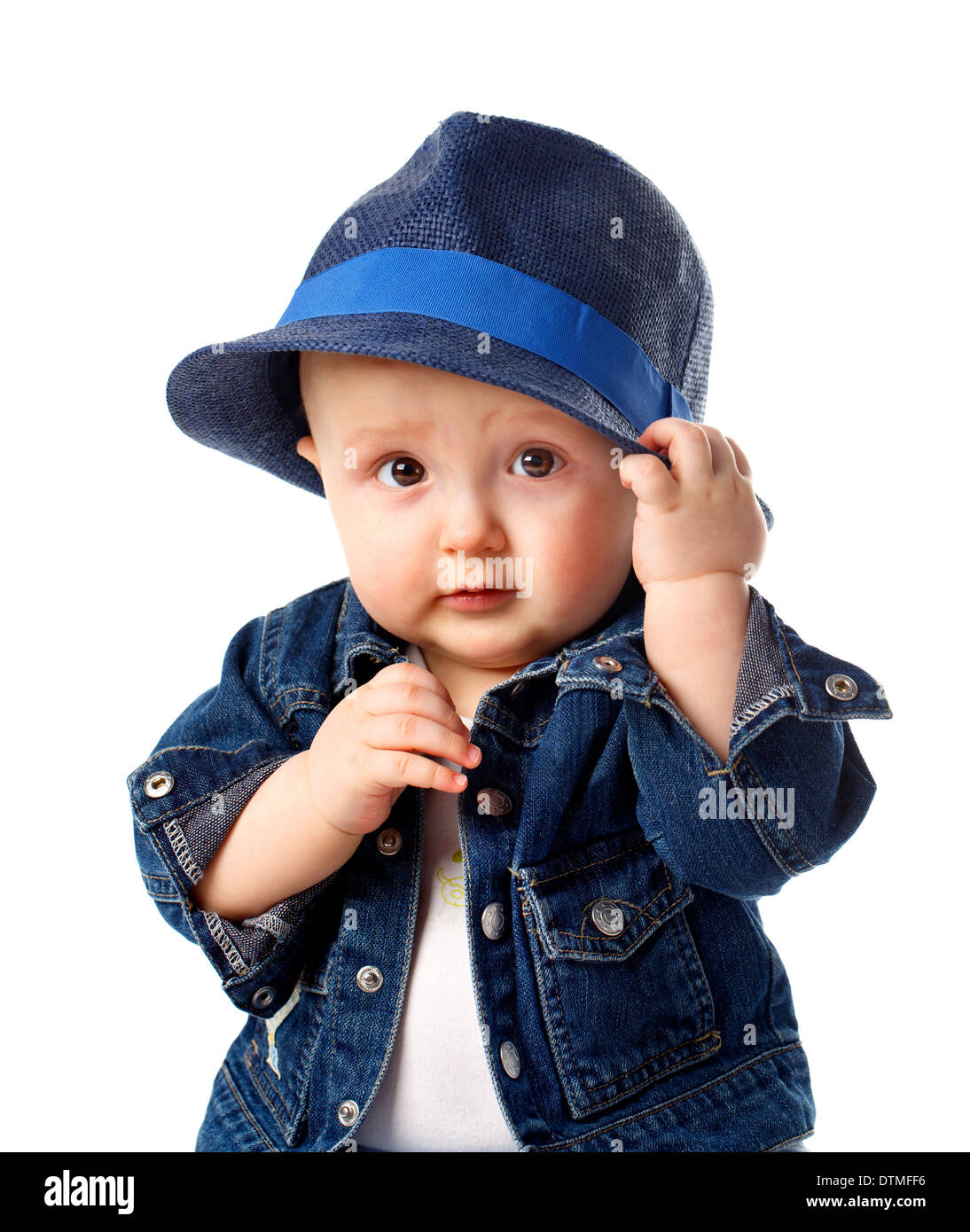 ea025ba3a89 Cute baby boy holding hat Stock Photo  66834074 - Alamy