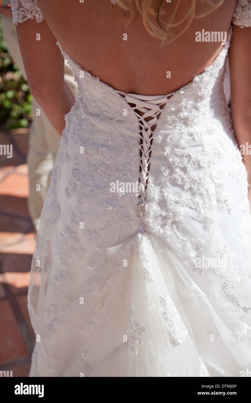 wedding dress bride\'s back detail string corset Stock Photo ...