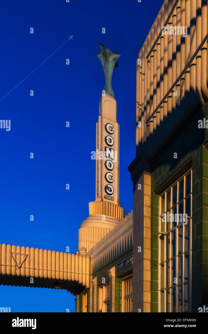 A architectural detail of the iconic Conoco gas Station on old route 66 in Shamrock Oklahoma - Stock Image
