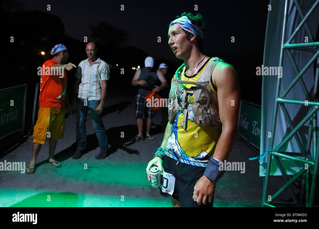 Nick Hollon after finishing first in the 2014 100k ultra marathon 'Fuego y Agua', Ometepe Island, Nicaragua - Stock Image