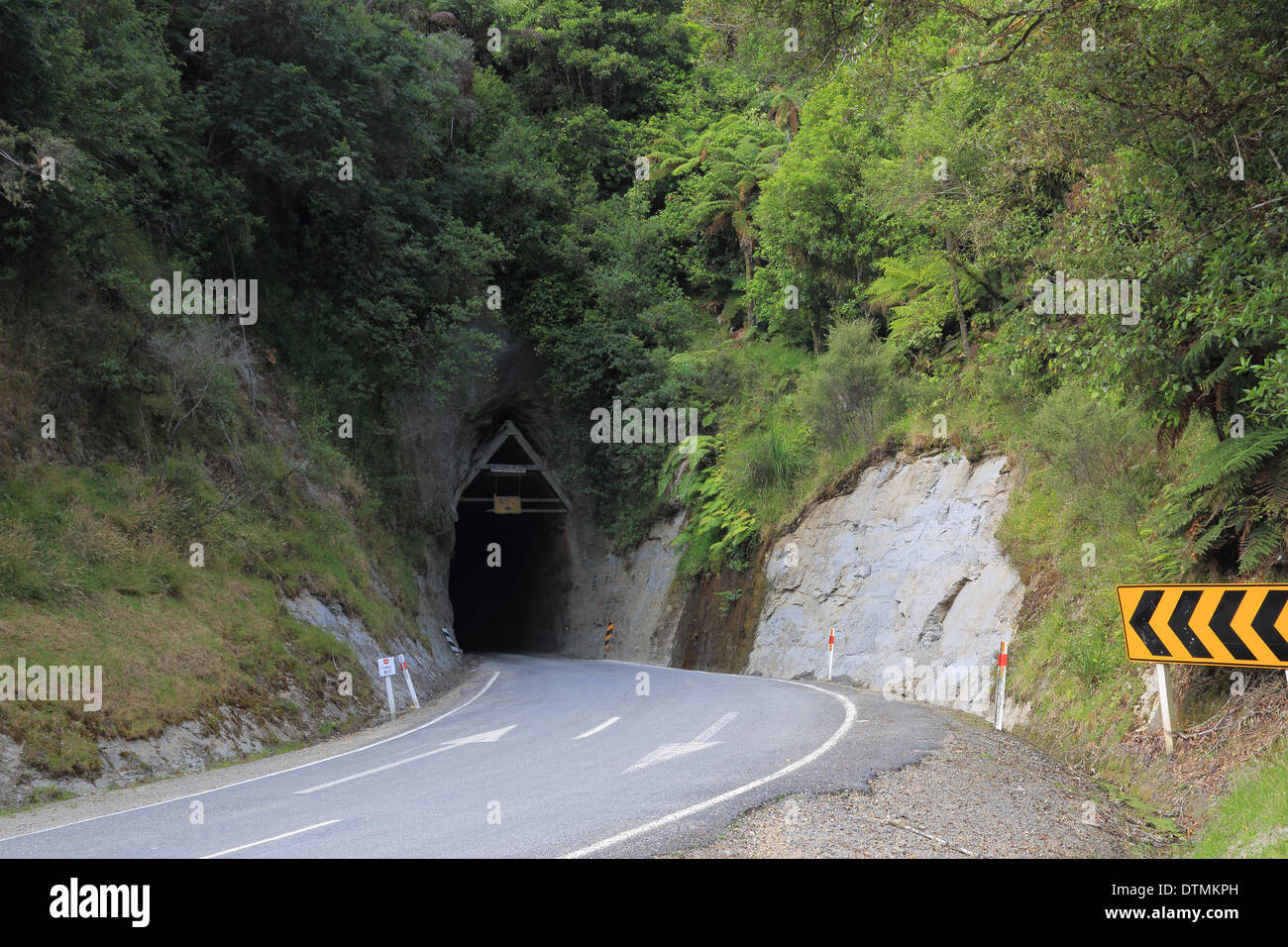 Moki Tunnel part of the Forgotten World Highway (SH 43), Whanganui National Park, North Island, New Zealand - Stock Image