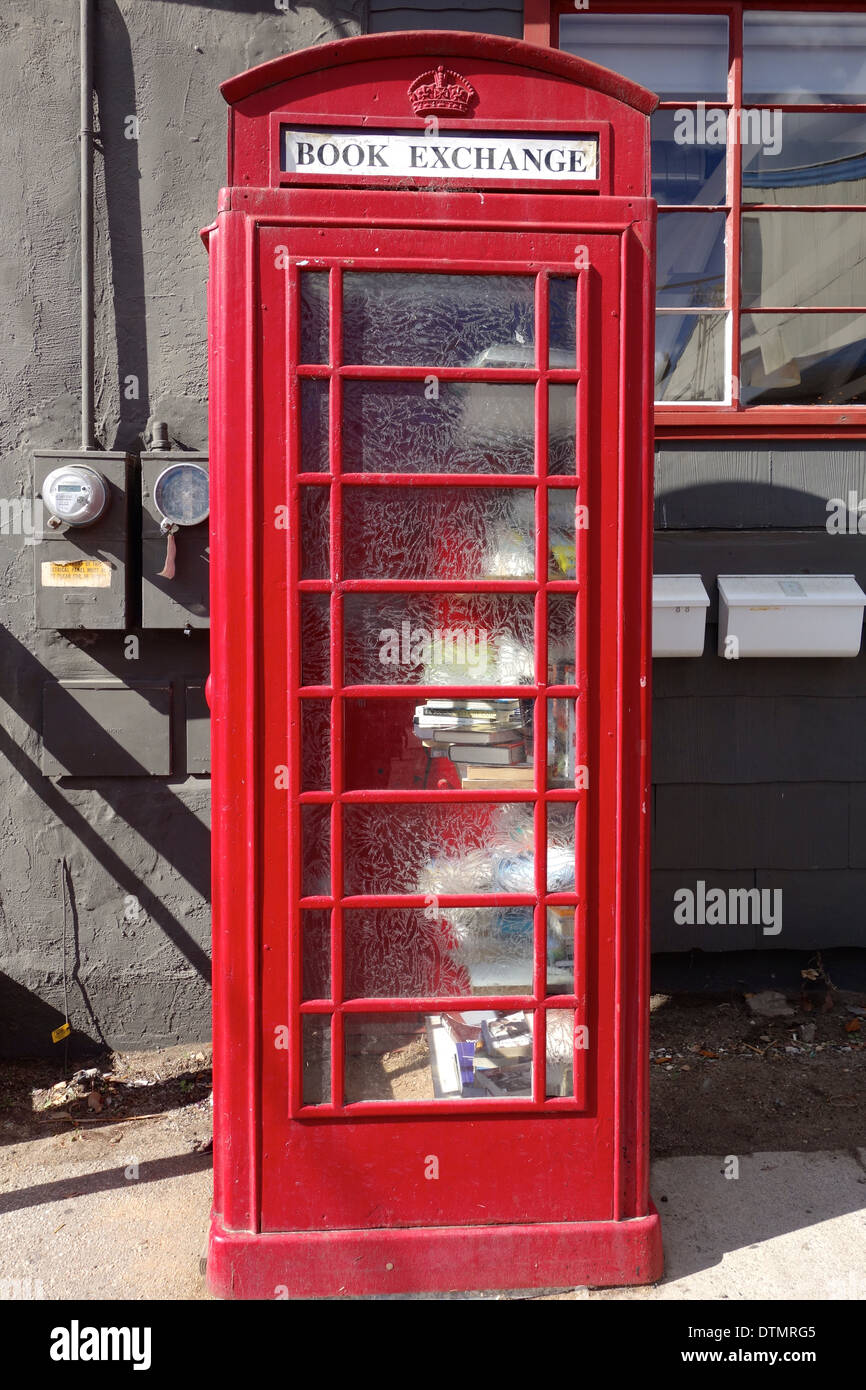 Book Exchange, Funk Zone, Santa Barbara, CA USA (former telephone booth is repurposed as a public lending library book swap) - Stock Image