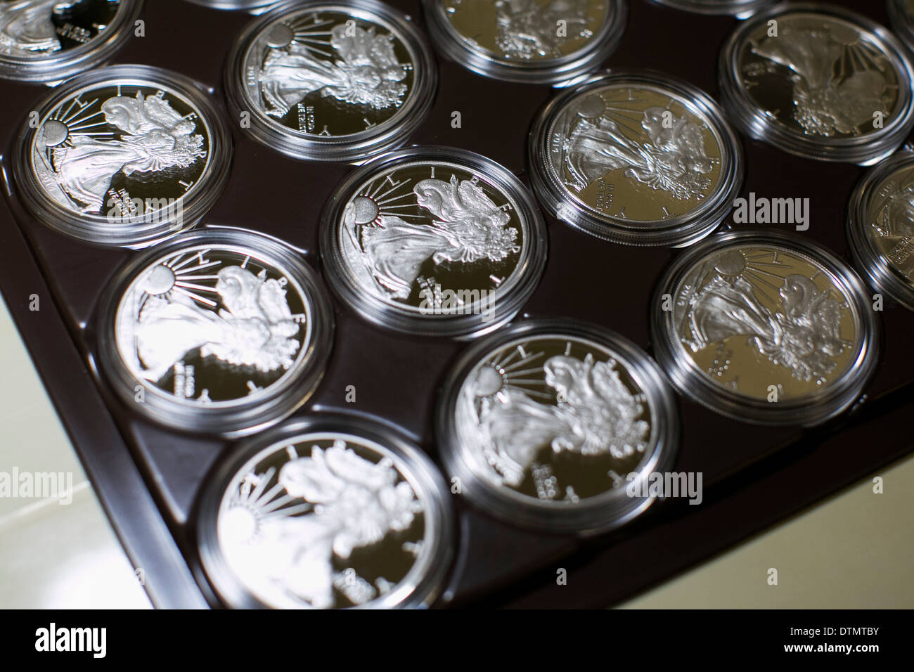 1 ounce Silver Eagle bullion and proof coin production at the West Point Mint.  - Stock Image