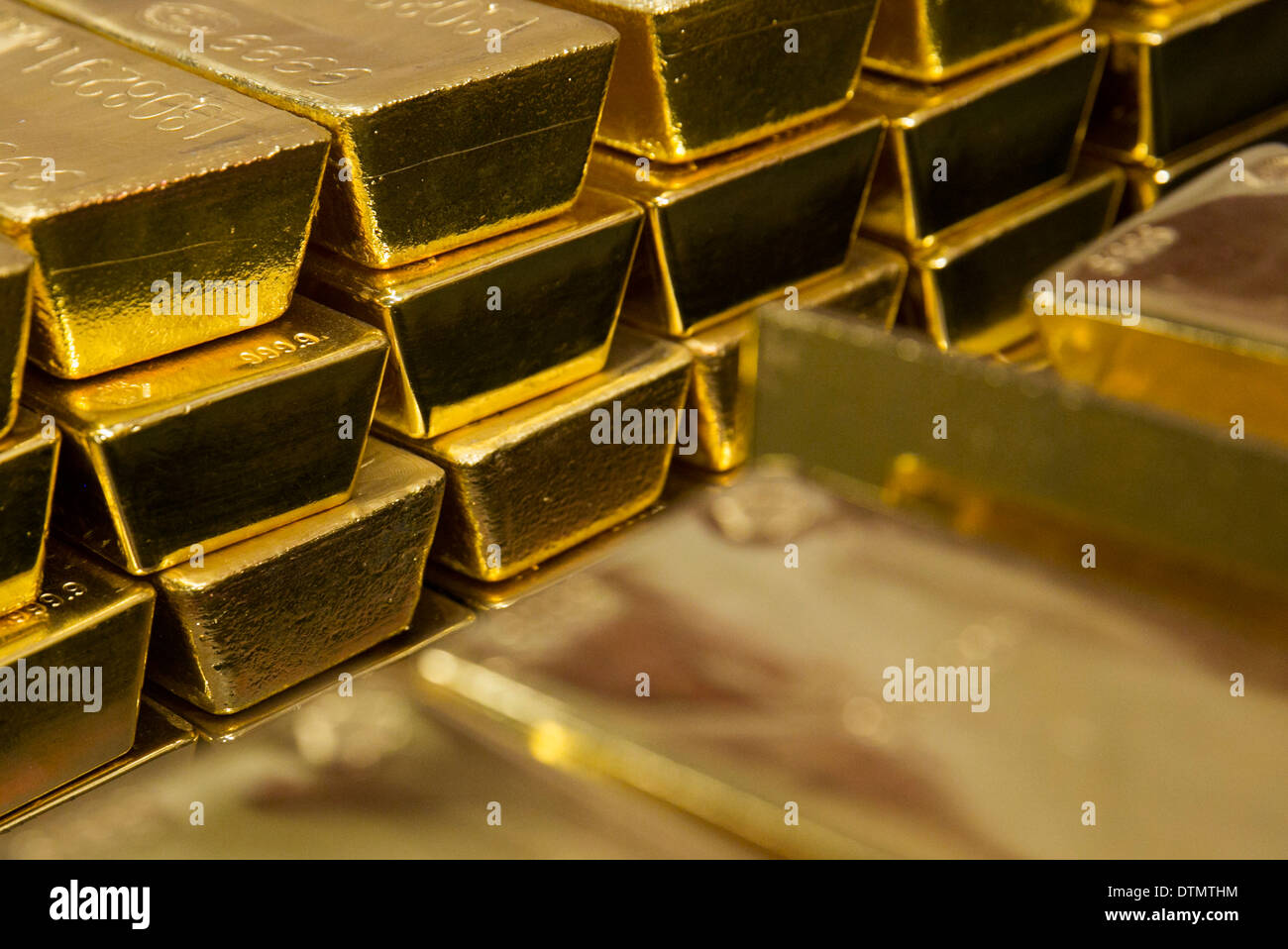 Bars of gold bullion owned by the U.S. Government at the West Point Mint. - Stock Image