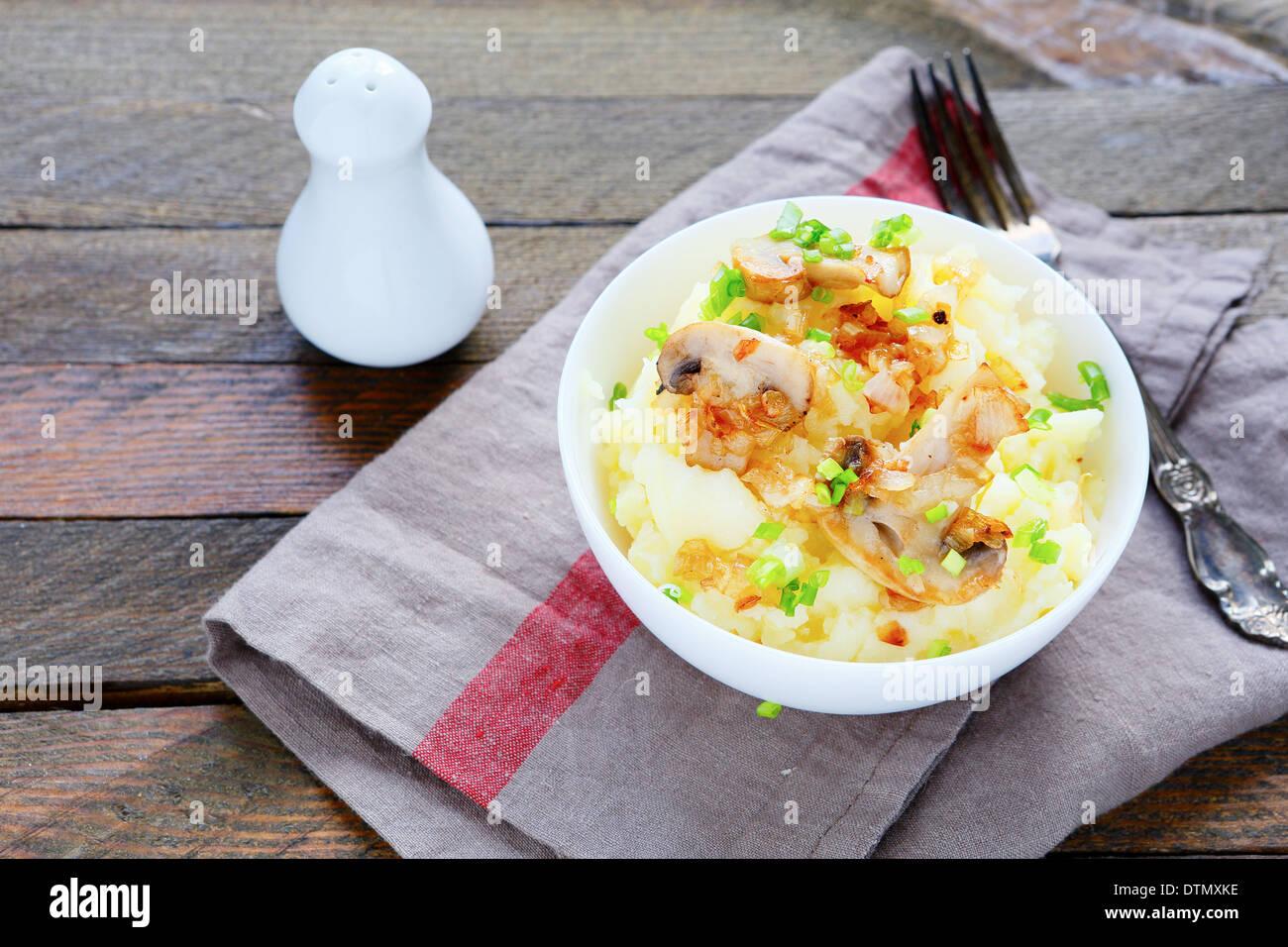 mashed potatoes with mushrooms, food closeup - Stock Image
