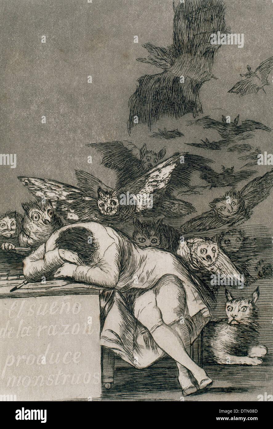 Francisco de Goya (1746-1828). Spanish painter and printmaker. Los Caprichos. ¿Donde va mama? (Where are you going mum?). - Stock Image