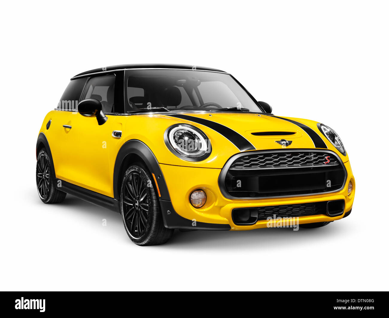 Yellow 2014 Mini Cooper S, Mini Hatch, hatchback compact city car isolated on white background - Stock Image