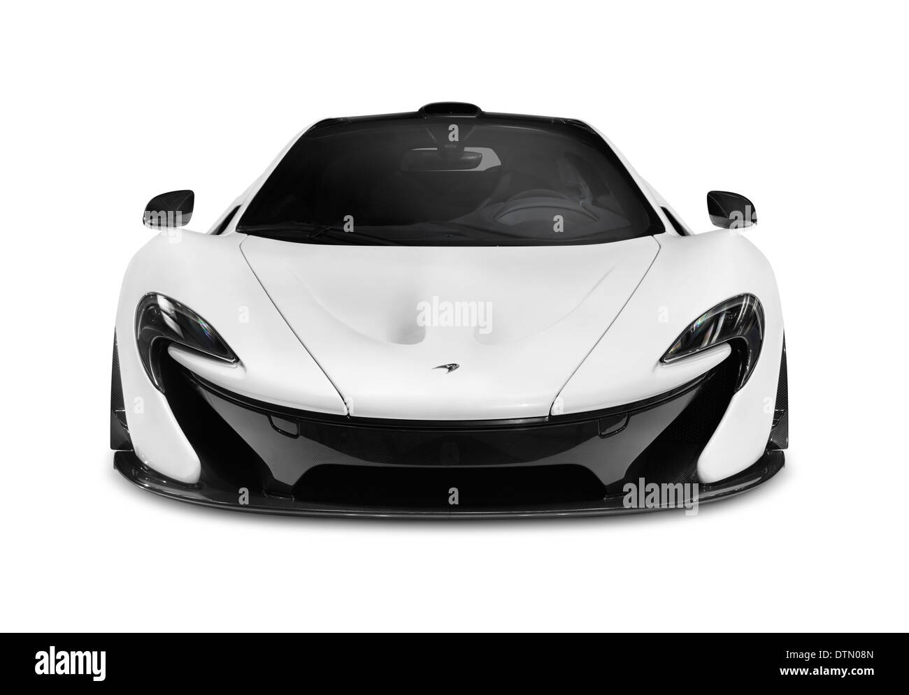 White 2014 Mclaren P1 Plug In Hybrid Supercar Front View Isolated