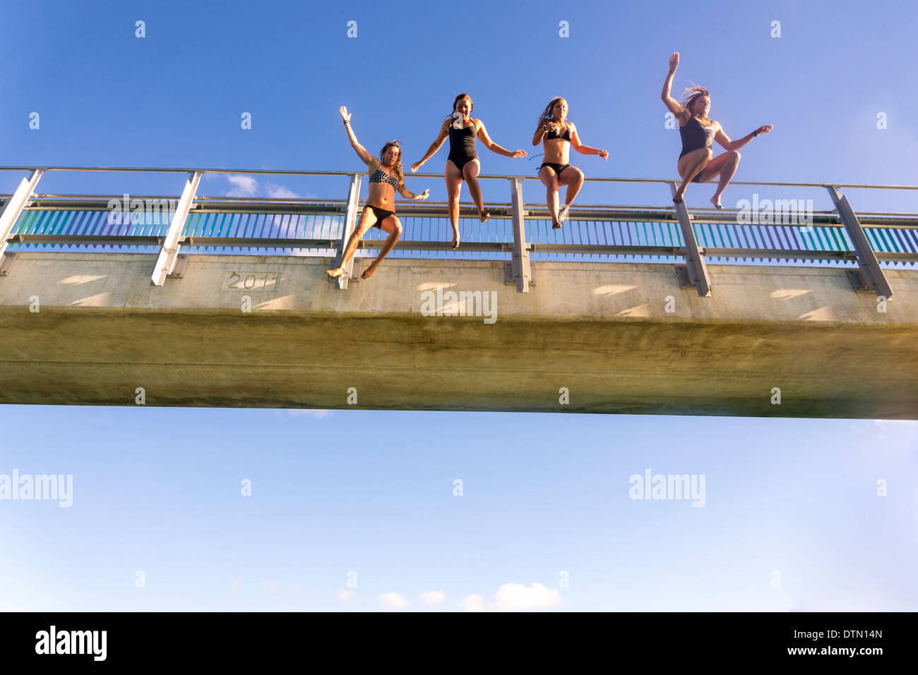 women juming of bridge into river on a hot summers day in Raglan - Stock Image
