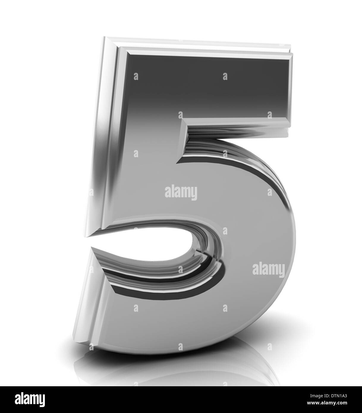 3d Number five in silver on white background - Stock Image