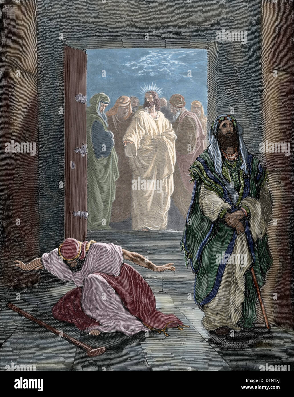 New Testament. Gospel of Luke. Chapter XVIII. Parable of the Pharisee and the Publican. Colored engraving. - Stock Image