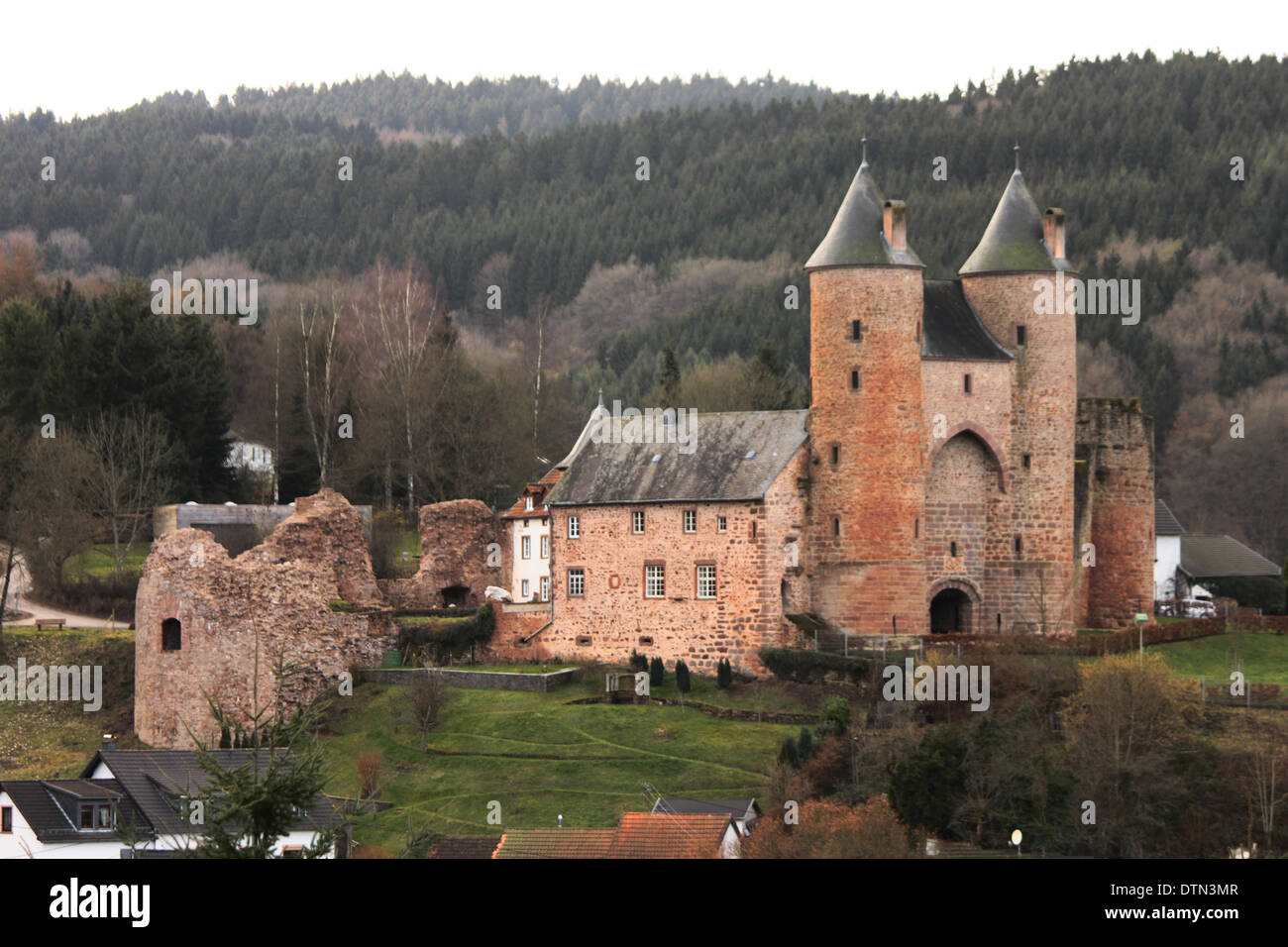 The Bertrada Castle in the Village Mürlenbach Eifel Stock Photo