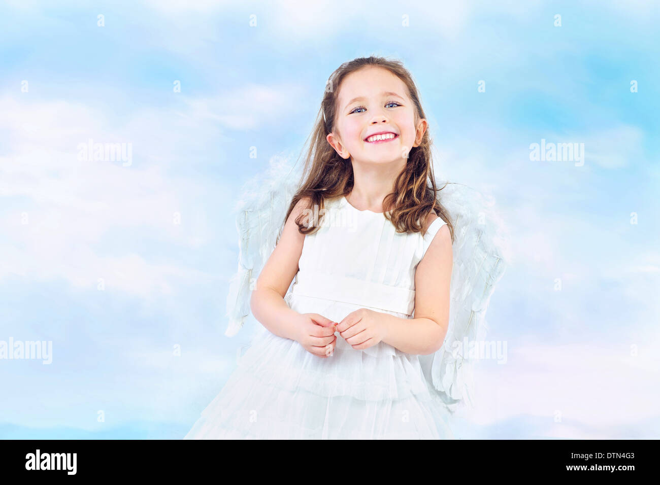 Cute little princess with pretty wide smile - Stock Image