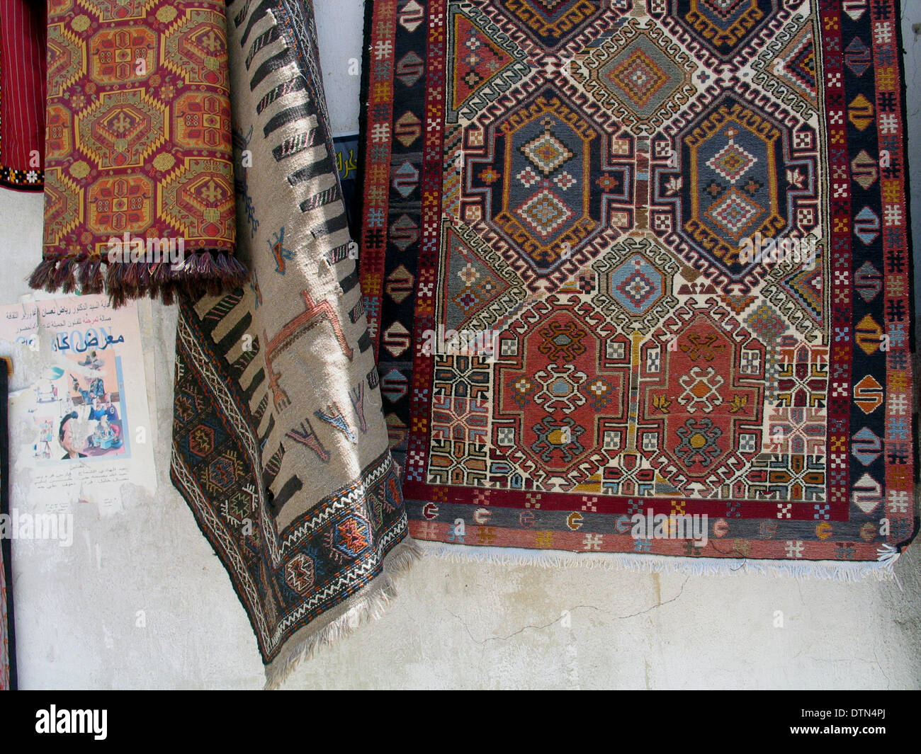 hand made carpets for sale on the local market in old damascus syria stock - Carpets For Sale