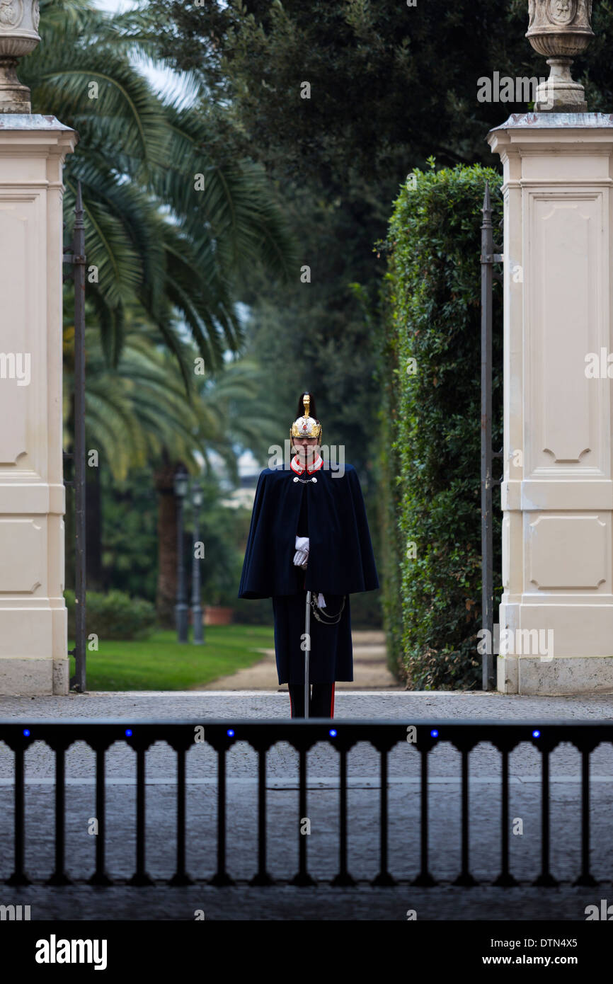 Corazzieri soldier on guard duty. Rome Italy. Stock Photo