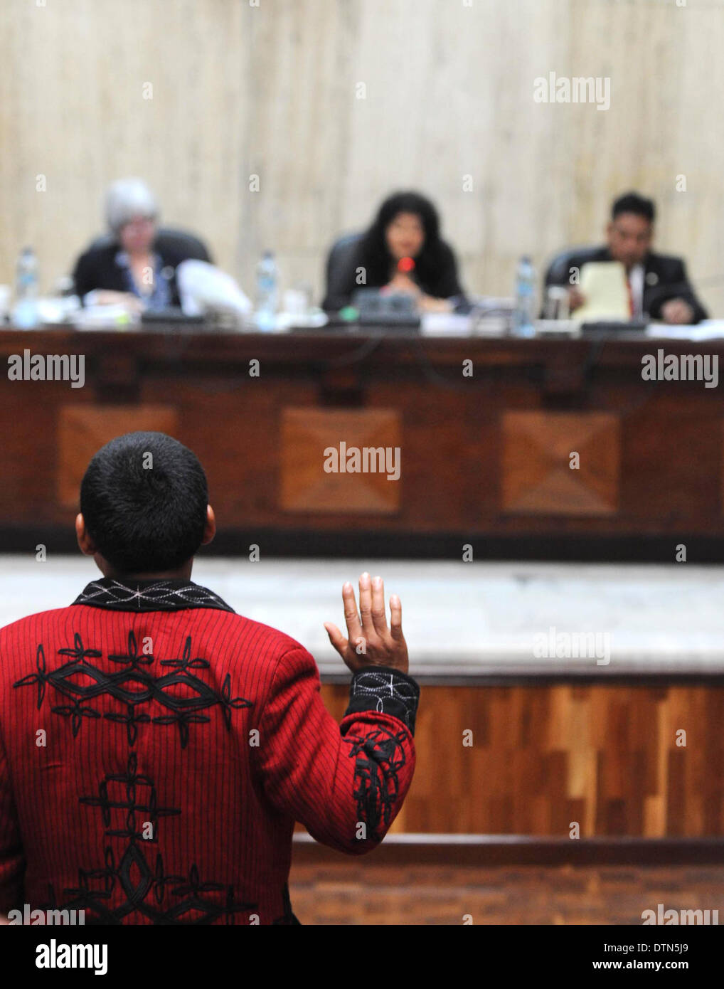 A Maya Ixil man swears during RIos Montt genocide trial In the Supreme Court of Justice Guatemala CIty March 19, 2013. - Stock Image