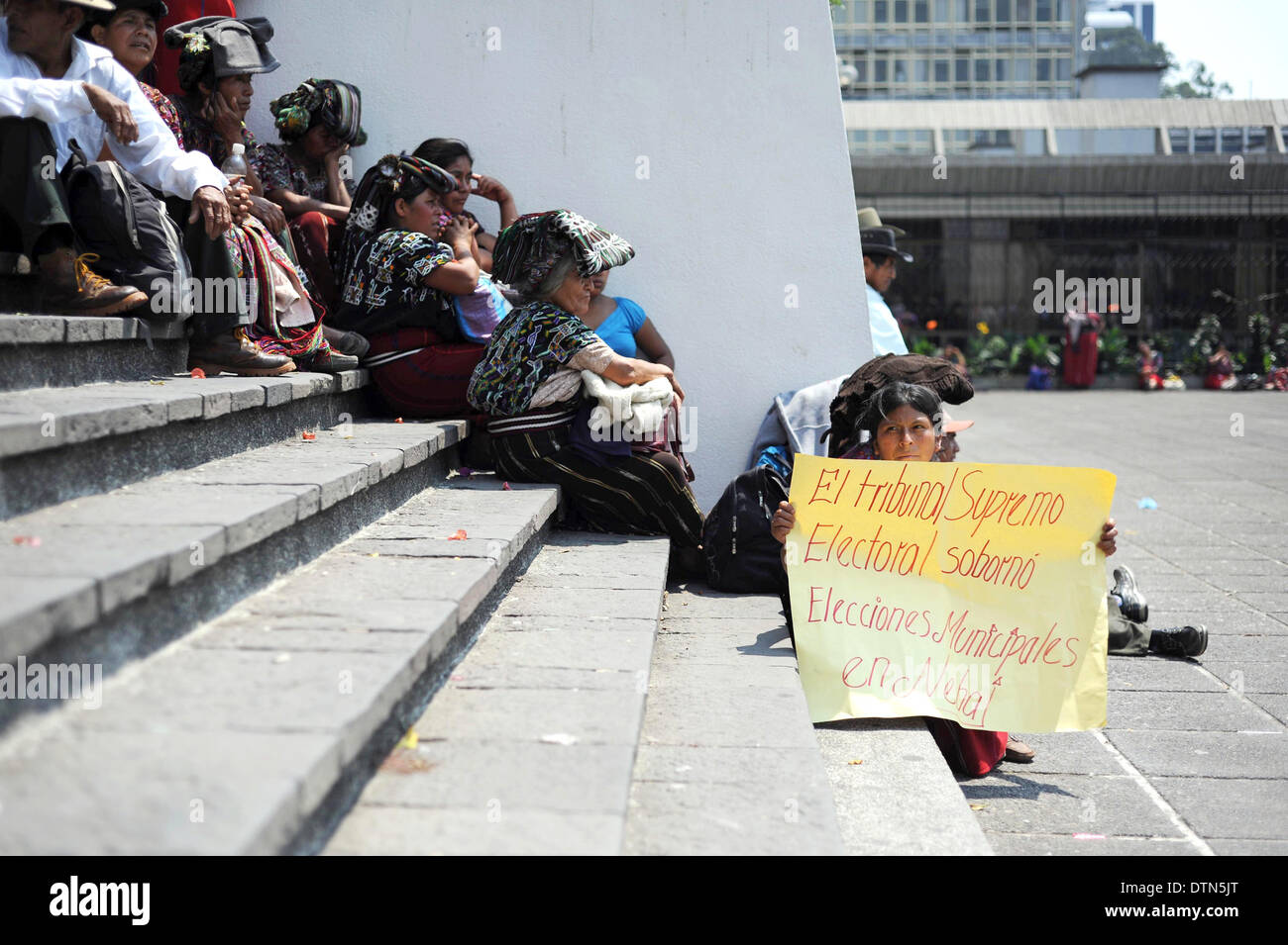 Maya Ixil men and women protest against former dictator Rios Montt during his trial for Genocide in Guatemala City in March 2013 - Stock Image