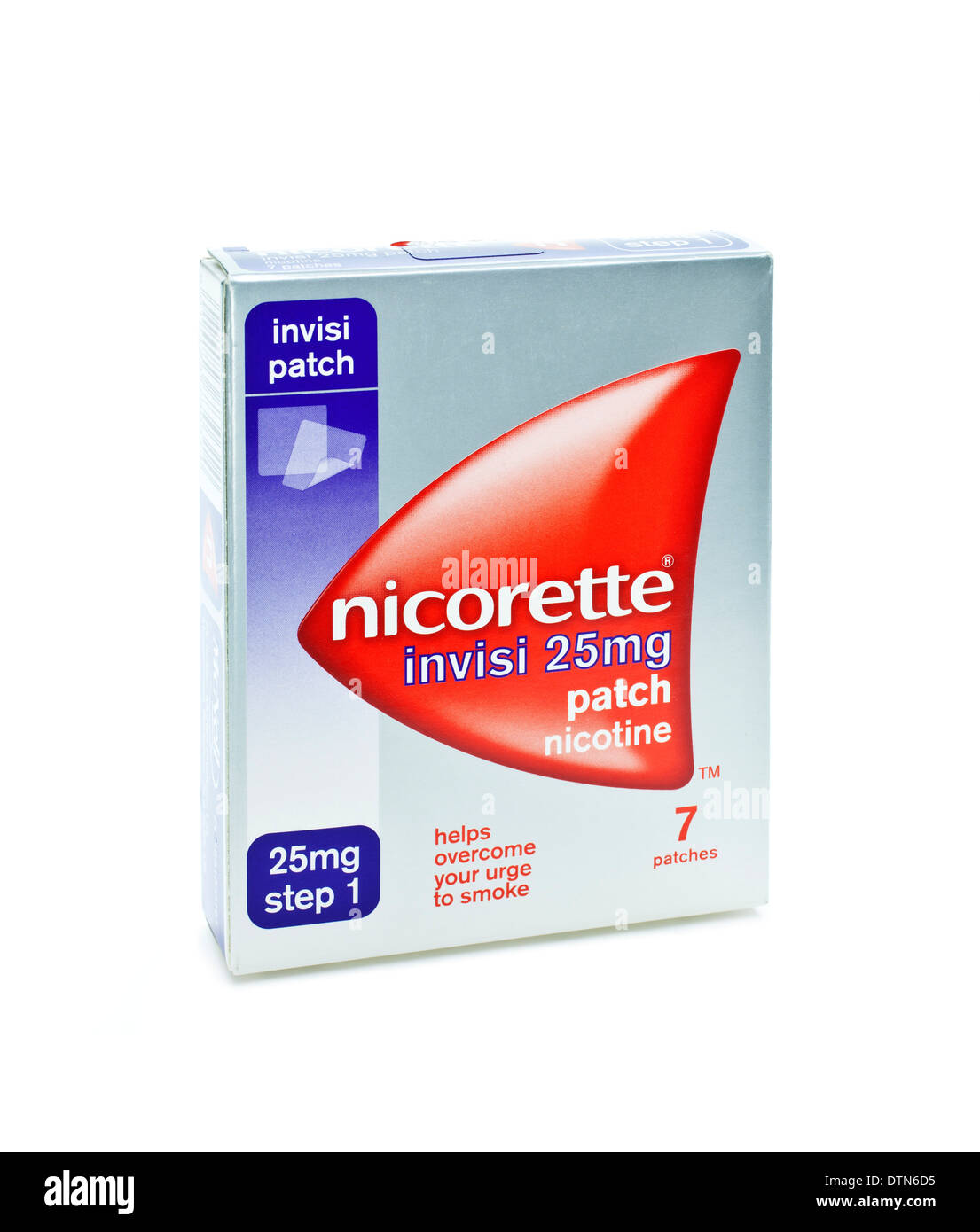 Box of 7 Nicorette patches on a white background - Stock Image