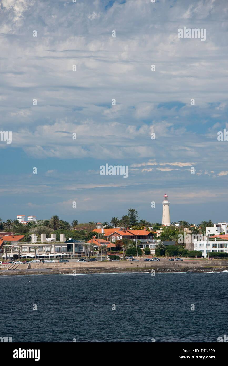 Uruguay, Punta del Este. View of the coastal area of the popular resort city of Punta del Este. Lighthouse (faro), circa 1860. - Stock Image