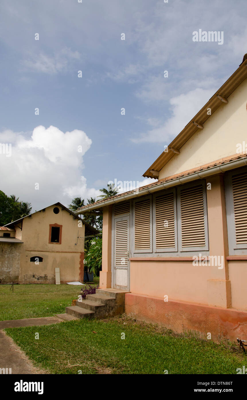 French Guiana, Salvation Islands. Ile Royale, guard houses for the infamous penal colony. - Stock Image