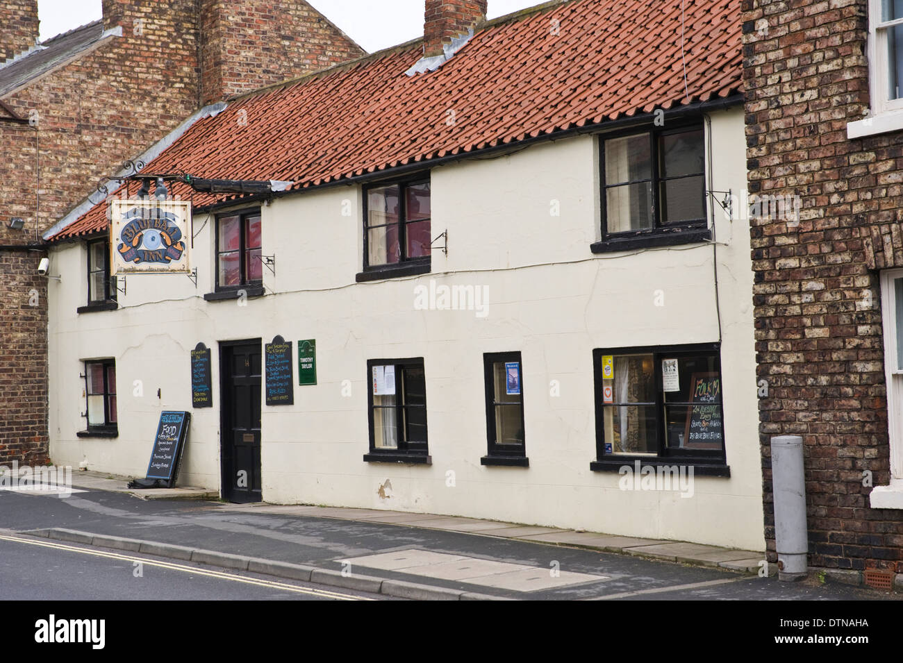 Exterior of The Blue Ball Inn pub in Malton North Yorkshire England UK - Stock Image