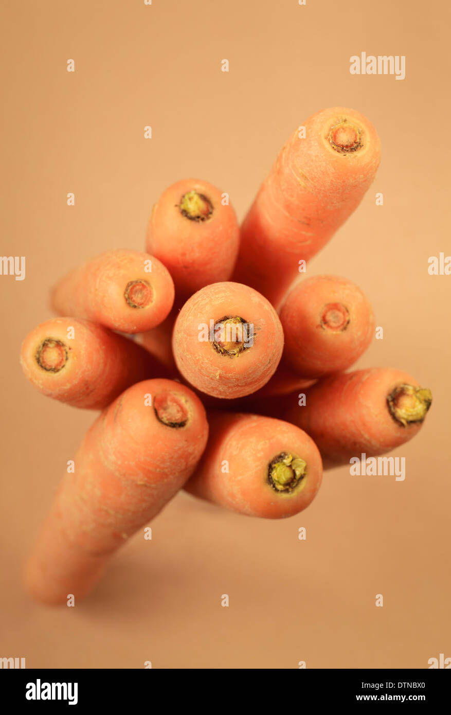 Bunch of carrots top view - Stock Image