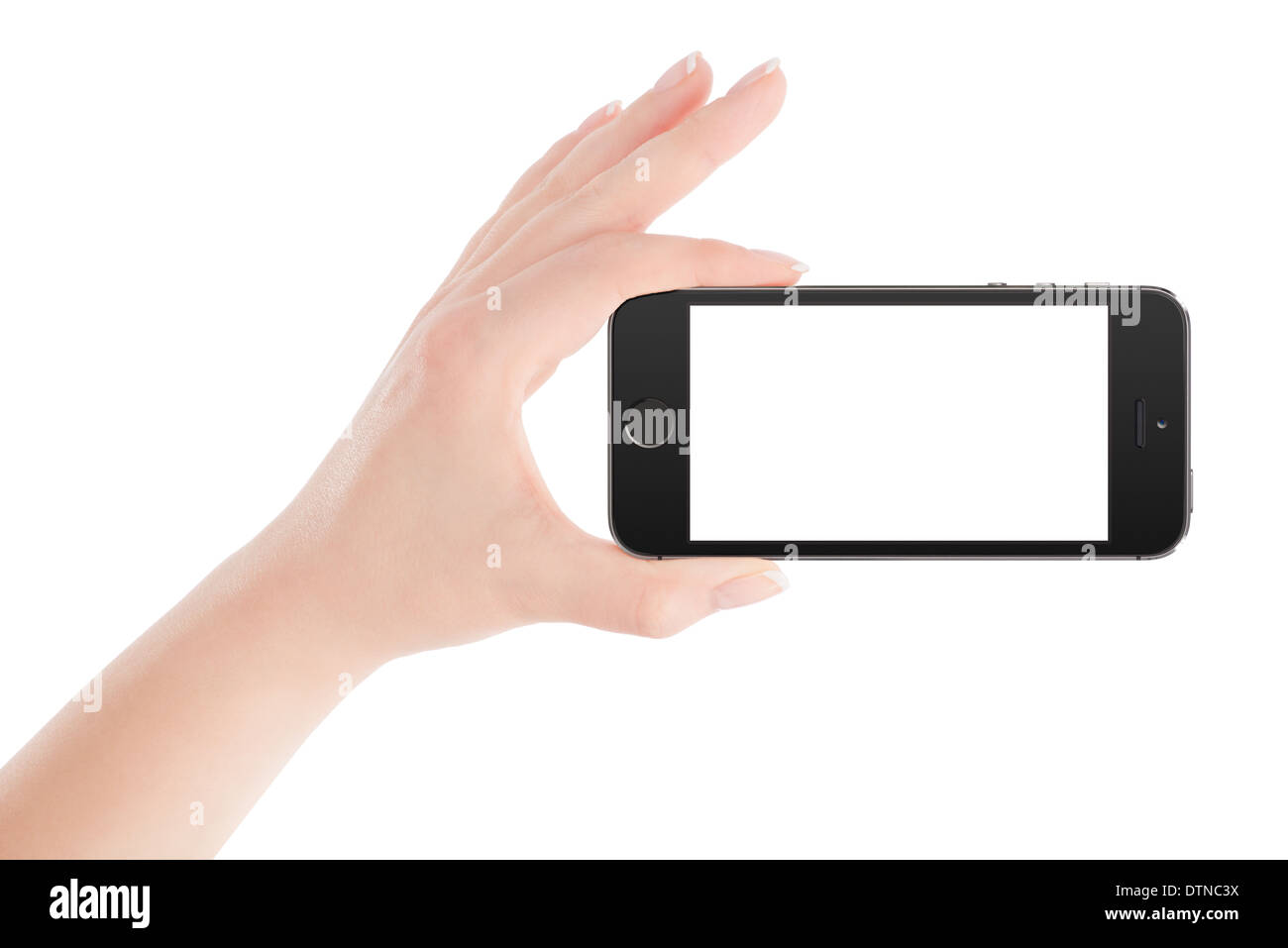 Female hand holding black modern smart phone with blank screen in landscape orientation. Isolated on white background. - Stock Image