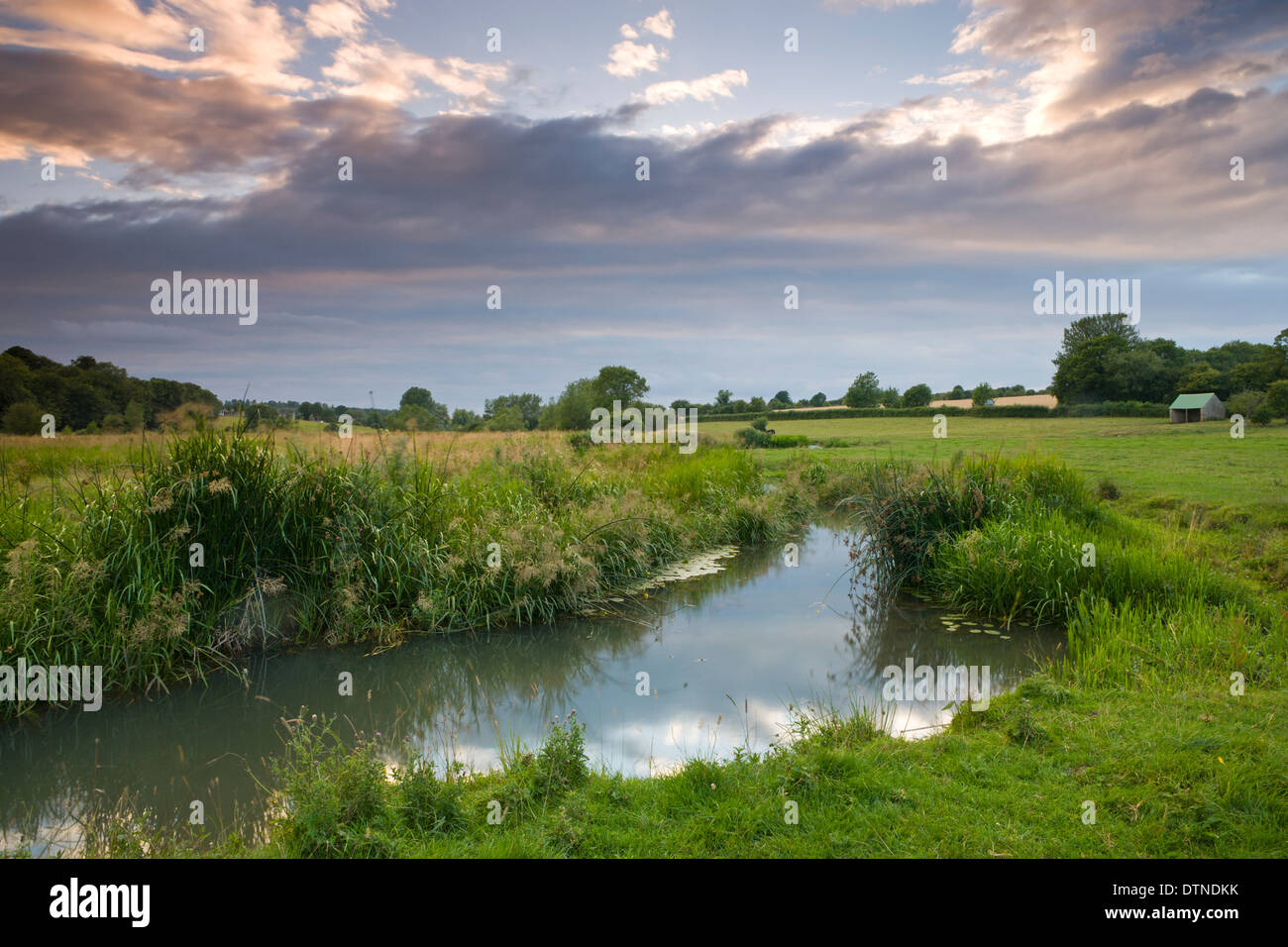 River Windrush meanders throughout the water meadows just outside of the Cotswolds town of Burford, Oxfordshire - Stock Image