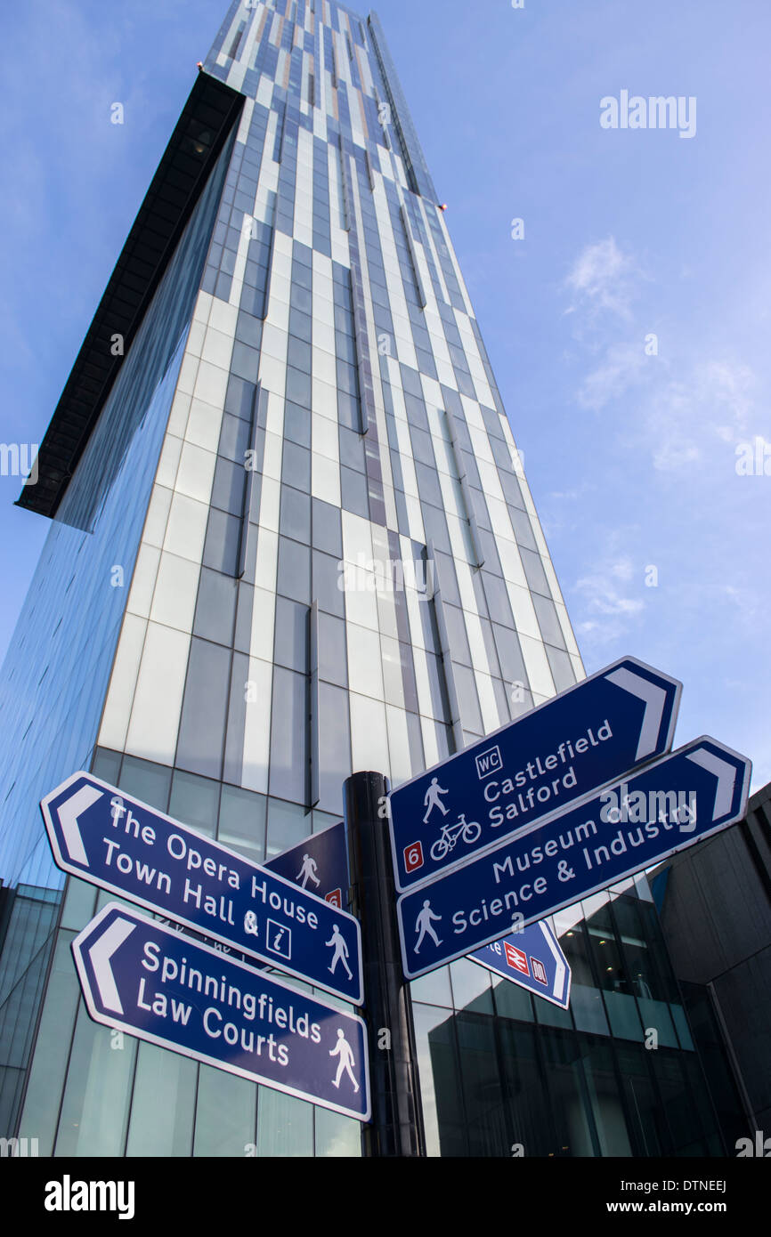 Beetham Tower mixed use skyscraper in Manchester city centre, England, UK, with street signs in the foreground - Stock Image