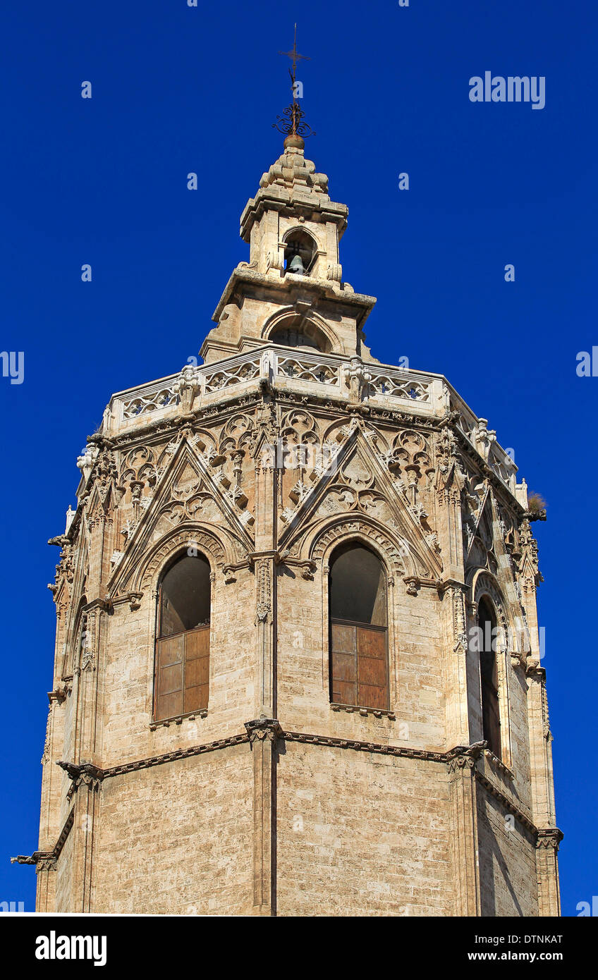 La Miguelete, the bell tower of the Metropolitan Cathedral-Basilica of the Assumption of Our Lady, Valencia, Spain Stock Photo