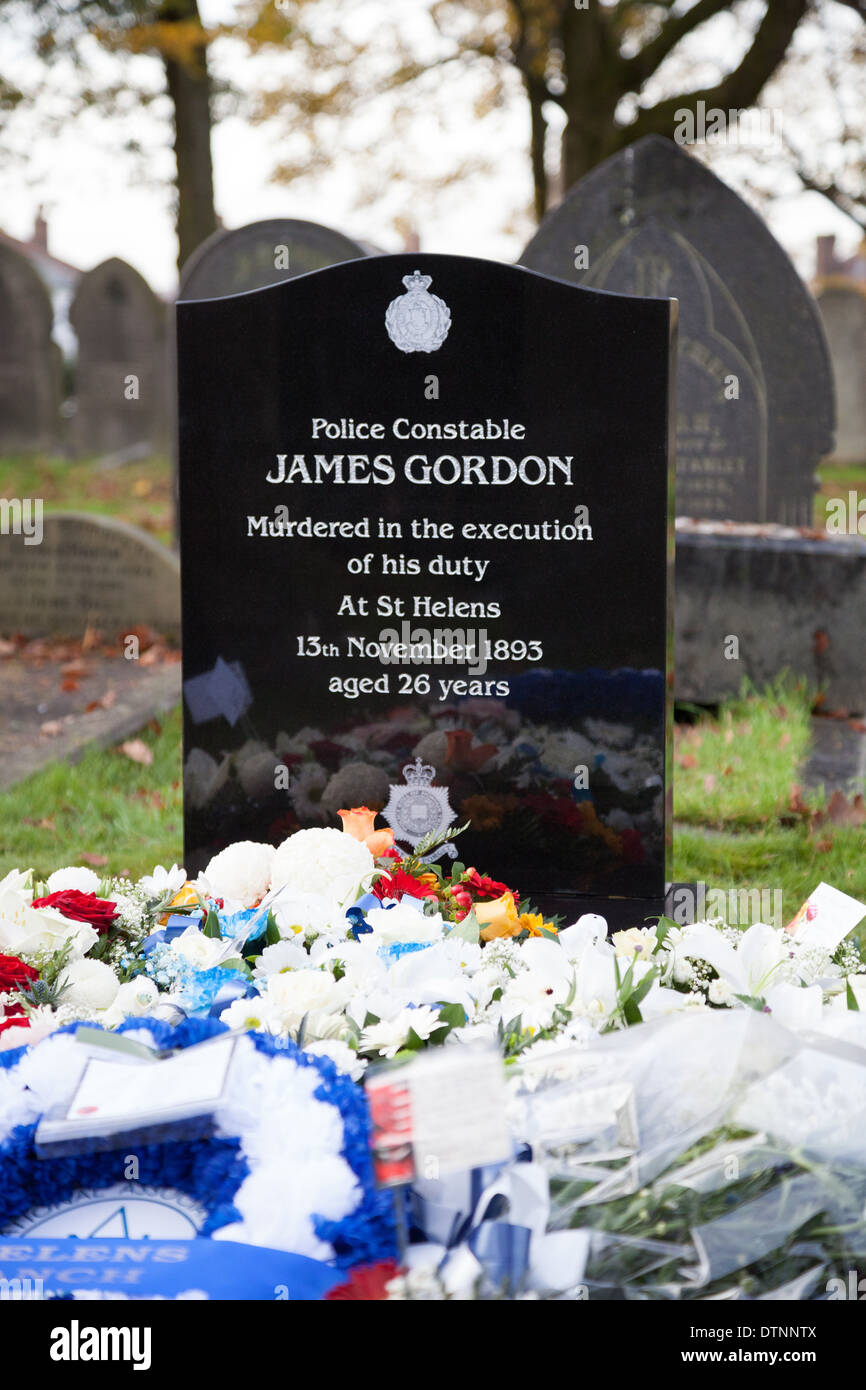 The new gravestone on the previously unmarked grave of PC James Gordon, who was murdered on duty 120 years ago. - Stock Image