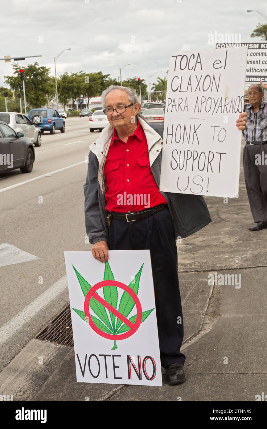 Miami, Florida - Cuban exiles, members of the Tea Party, oppose the legalization of medical marijuana. Stock Photo