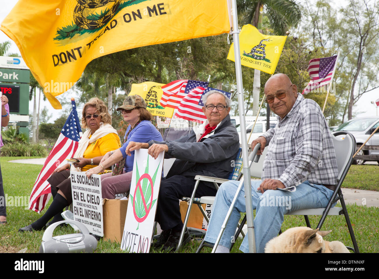 Miami, Florida - Cuban exiles, members of the Tea Party, rally on a variety of issues. Stock Photo
