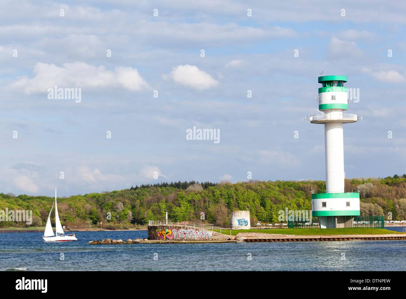 Lighthouse in Kiel Falkenstein, Germany - Stock Image