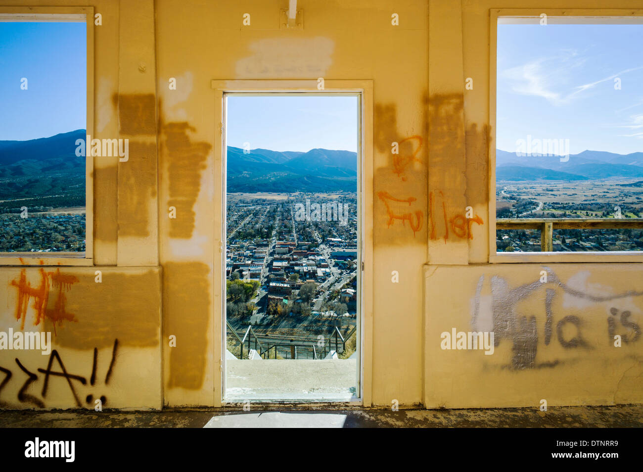 View from aged observation hut atop Tenderfoot, or 'S', Mountain, Salida, Colorado, USA - Stock Image