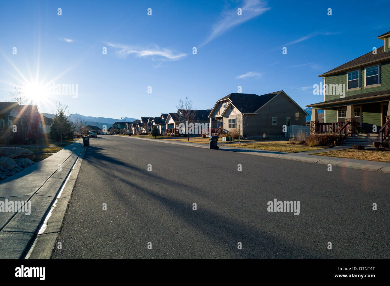 Sunset view from residential neighborhood in Salida, Colorado, USA - Stock Image